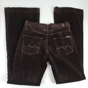 7 For All Mankind Velour Flare Jeans 29 Brown